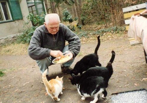 Bohumil Hrabal with his cats in Kersko